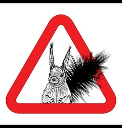 Animal free sign warning squirrel zone vector