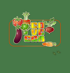 cartoon style vegetables icons and the inscription vector image vector image