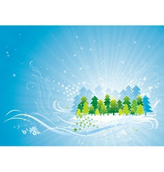 christmas card with forest of pine and snowflakes vector image vector image