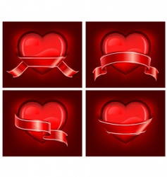 hearts with ribbom on red vector image vector image