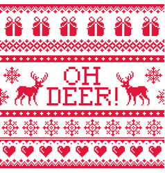 oh deer red pattern christmas seamless design wi vector image vector image