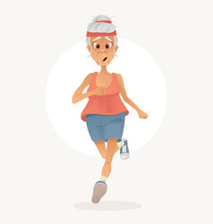 old sporty happy grandma character run vector image vector image