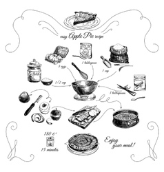 Simple apple pie recipe step by stephand drawn vector