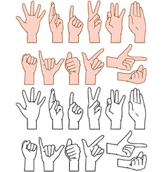 Universal Hand Signs Gestures vector image vector image