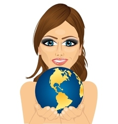 woman holding earth globe with her hands vector image