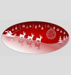 christmas red design with santa claus and deer in vector image vector image