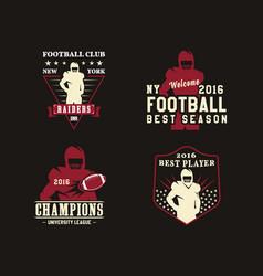 american football player team badges logos labels vector image
