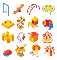 Amusement park icons set cartoon style vector image