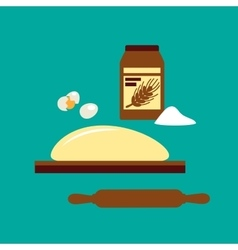 Baking concept with flour and dough vector