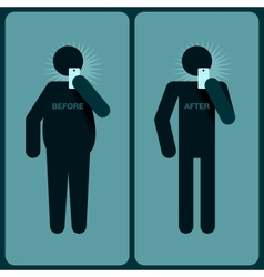 Before and after a diet silhouette man vector