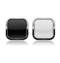 Black and white buttons shiny square 3d icons vector