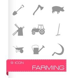 Black farming icons set vector