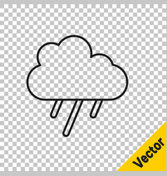 black line cloud with rain icon isolated on vector image
