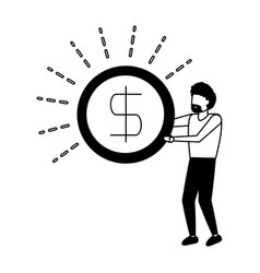 business man holding dollar coin vector image