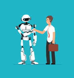 Businessman shaking robots hand artificial vector