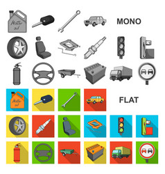 car vehicle flat icons in set collection for vector image