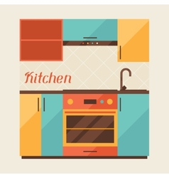 Card with kitchen interior in retro style vector