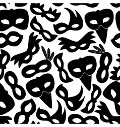 carnival rio black masks icons seamless pattern vector image