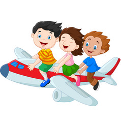 Cartoon little kids riding airplane isolated on wh vector