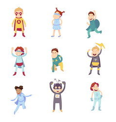 children imagine super heroes vector image