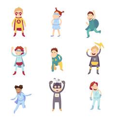 children imagine super heroes vector image