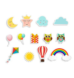Children s stickers with balloons gift box owl vector