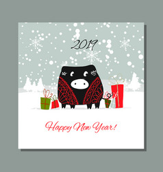christmas card santa pig in forest symbol of vector image