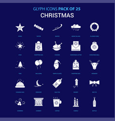 Christmas white icon over blue background 25 icon vector