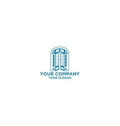 Classic french door glass logo design vector