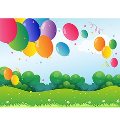 Colorful balloons at the hill vector