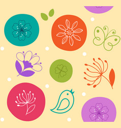 colorful seamless pattern cute flower bird and vector image