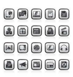 connection communication and technology icons vector image