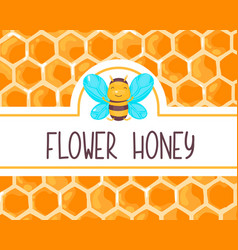 Cute honey label with happy smiling bee for food vector