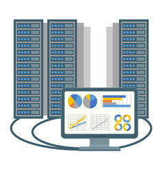 data centre icon of computer and blocks vector image