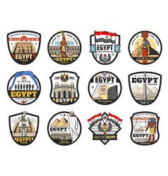 Egypt travel culture and religious icons vector