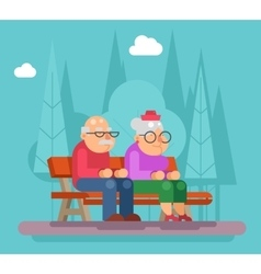 Elderly couple sitting on a bench in park vector