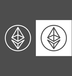 ethereum signs as thin line icon of internet money vector image