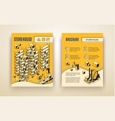Factory robotized storehouse brochure vector
