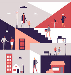 family life - flat design style vector image