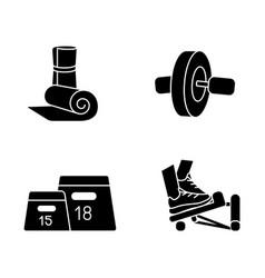 fitness equipment black glyph icons set on white vector image