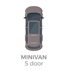 five doors minivan top view flat icon vector image