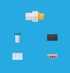 flat icon pipeline set of tube water filter vector image vector image