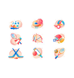 flat sport icon set with football basketball vector image