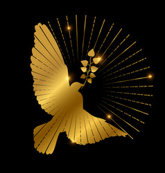 Golden dove of peace logo design pigeon branch vector