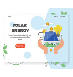 Green solar and renewable energy website vector