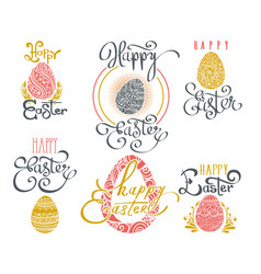 hand drawn easter words vector image