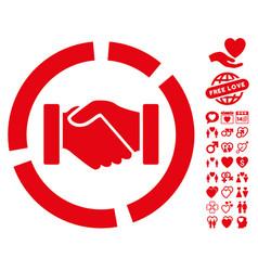 Handshake diagram icon with lovely bonus vector