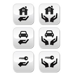 Home car keys with hands buttons set vector