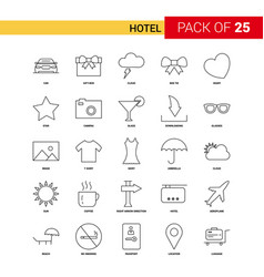 hotel black line icon - 25 business outline icon vector image