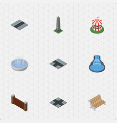 Isometric city set of seat barrier path and vector